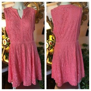 Pink Coral Lace Sleeveless Skater Dress